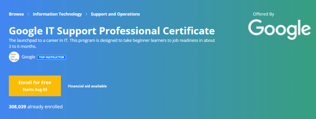 google it support professional certificate program